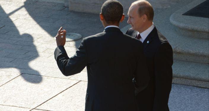 Prezydent USA Barack Obama i prezydent Rosji Władimir Putin na oficjalnej ceremonii spotkania szefów delegacji państw G20