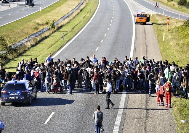 Grupa uchodźców w Danii