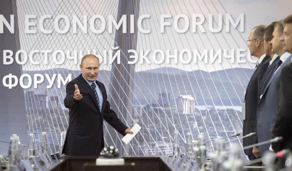 Prezydent Rosji Władimir Putin podczas spotkania z perspektywicznymi inwestorami Dalekowschodniego Okręfu Federalnego w ramach Wschodniego Forum Gospodarczego
