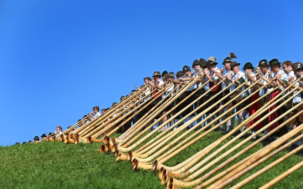Masowy koncert muzyczny z wykorzystaniem rogu alpejskiego, południe Niemiec