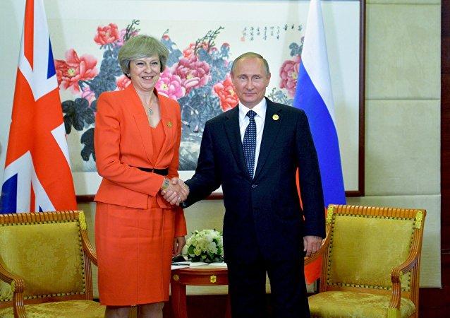 Premier Wielkiej Brytanii Theresa May i prezydent Rosji Władimir Putin w trakcie szczytu G20 w chińskim Hangzhou