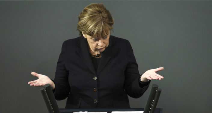 Kanclerz Niemiec Angela Merkel w niemieckim Bundestagu