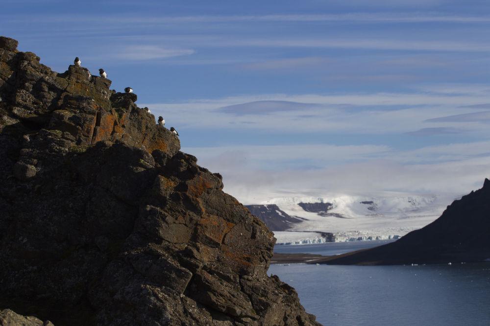 Widok na  Zatokę Cichą przy wyspie Hoockera w archipelagu Ziemia Franciszka Józefa.