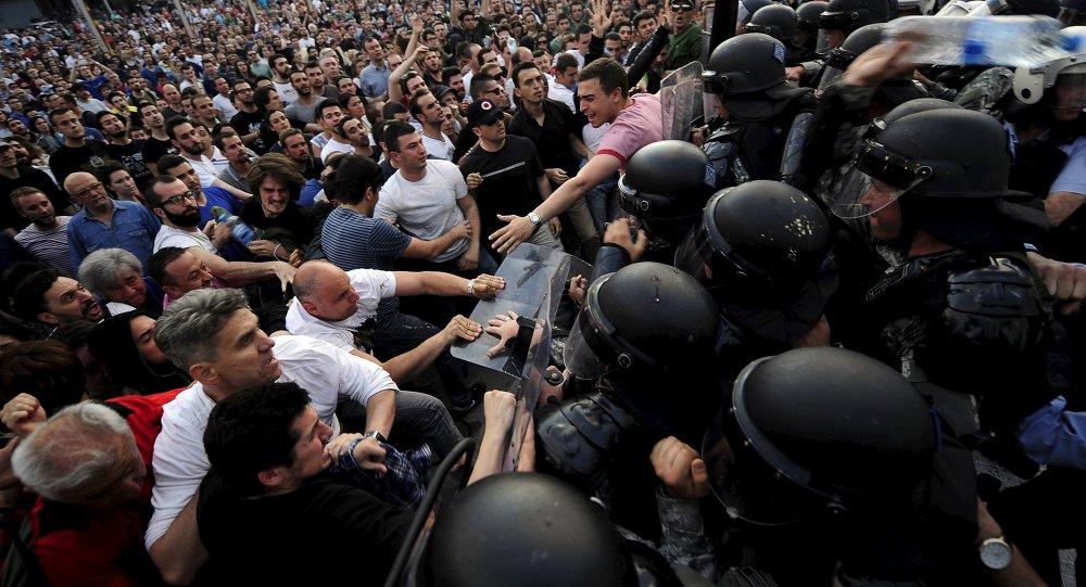 Protesty w Skopje, Mazedonia, 5 maja 2015