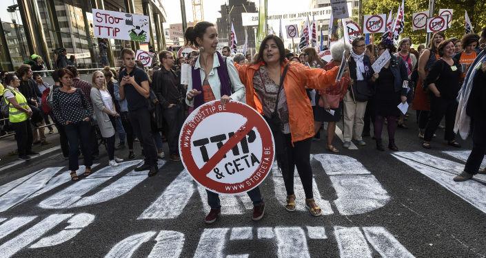 Akcje protestacyjne TTIP i CETA w Brukseli