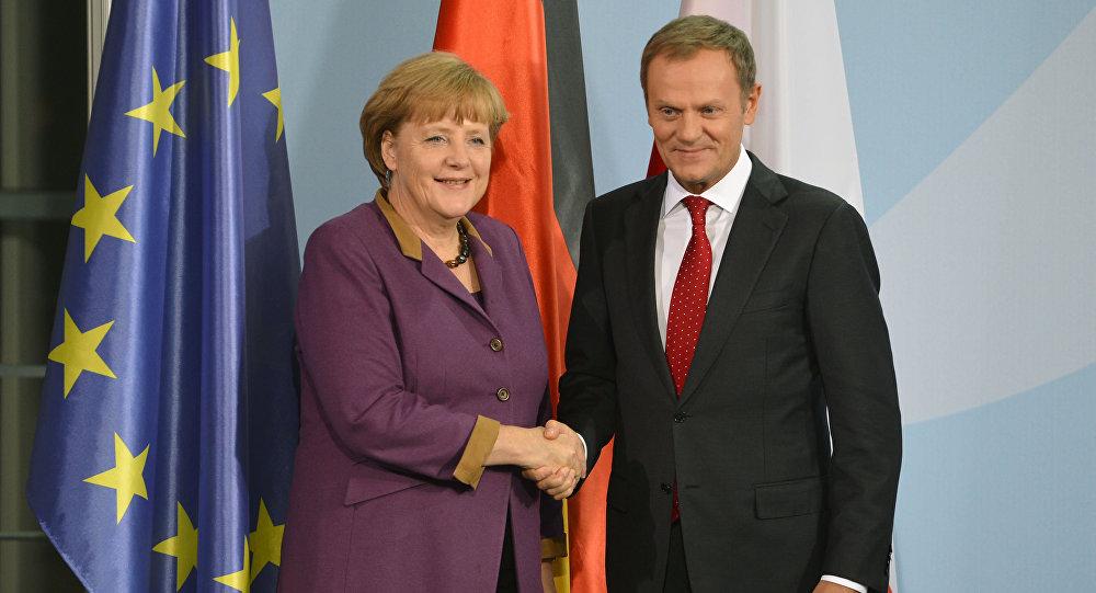 Kanclerz Niemiec Angela Merkel i były premier Polski Donald Tusk