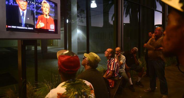 Transmisja pierwszej debaty pomiędzy kandydatami na urząd prezydenta USA Donalda Trumpa i Hillary Clinton