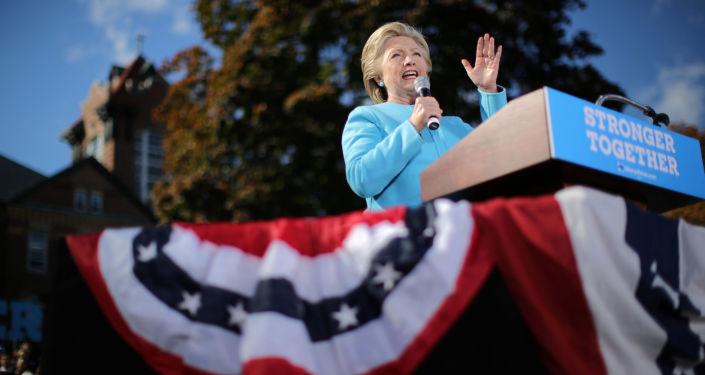 Kandydat na prezydenta USA Hillary Clinton w czasie kampanii wyborczej w Manchesterze