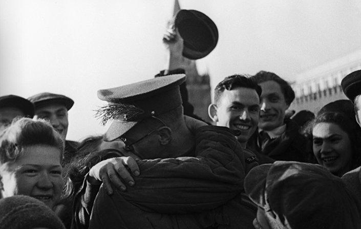 Plac Czerwony, dzień zakończenia II wojny światowej.