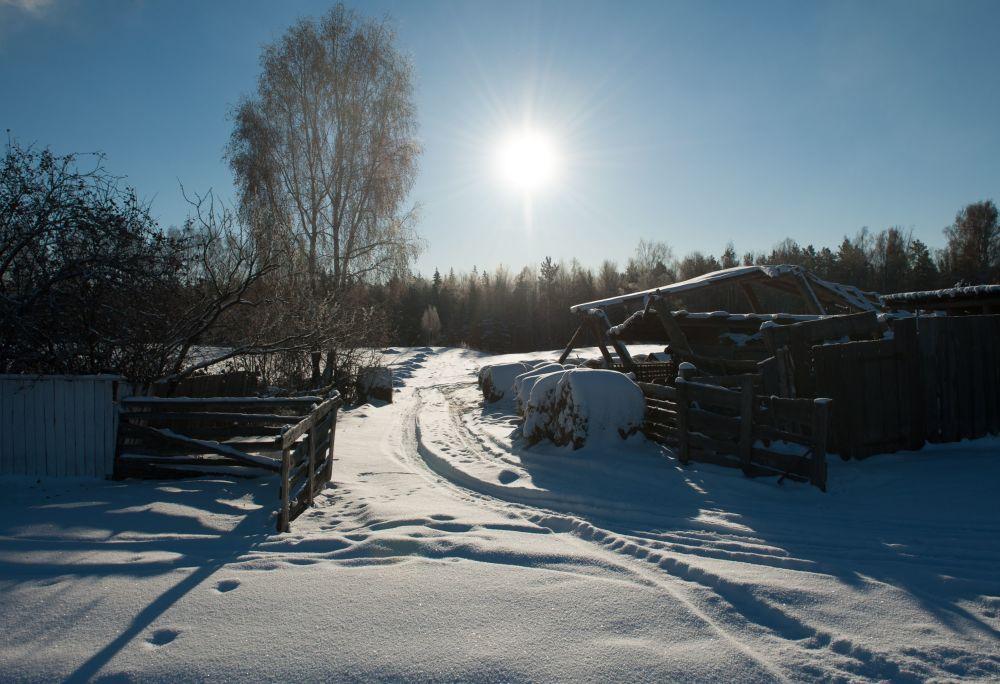 Śnieg we wsi Bieriozowka w obwodzie tomskim