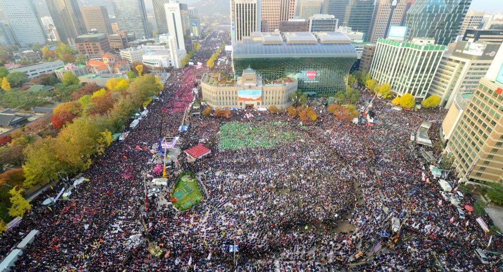 Akcja protestacyjna przeciwko władzy w Seulu