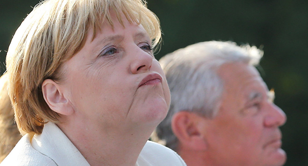Kancelerz Niemiec Angela Merkel z prezydentem Niemiec Joachimem Gauckiem