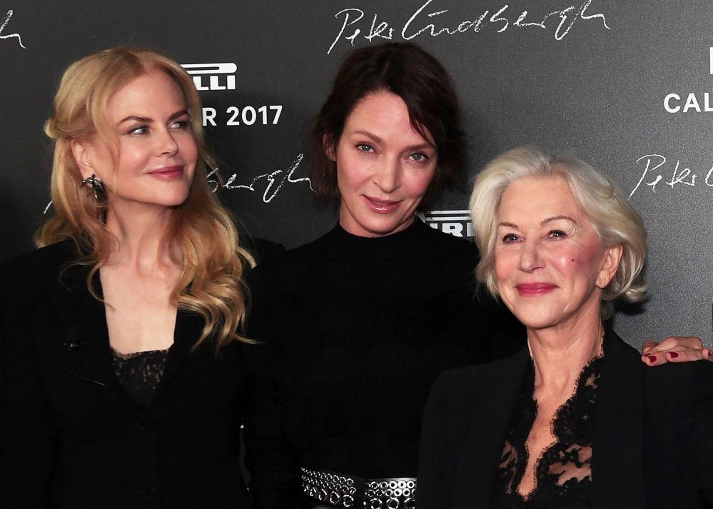 Nicole Kidman, Uma Thurman i Helen Mirren na prezentacji kalendarza Pirelli 2017