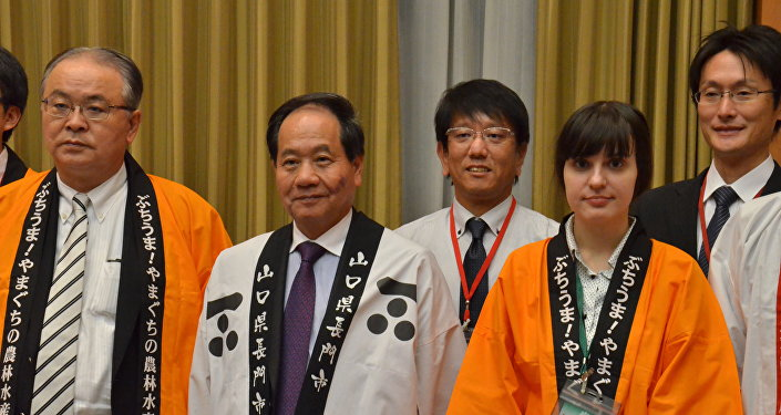 Nagato Kurao Ōnishi i członkowie japońskiej delegacji w ambasadzie Japonii w Moskwie