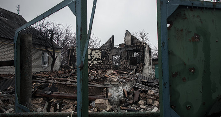 A private house destroyed by shelling inthe village of Chernukhino.