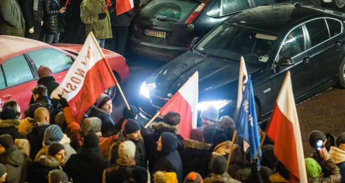 Protest przed budynkiem polskiego Sejmu
