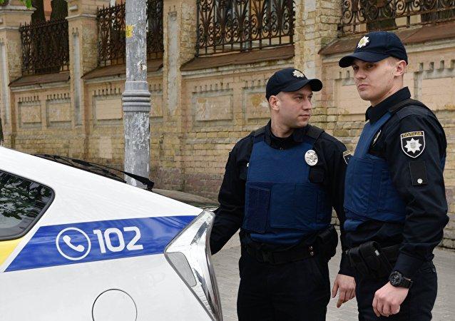 Policjanci w Kijowie