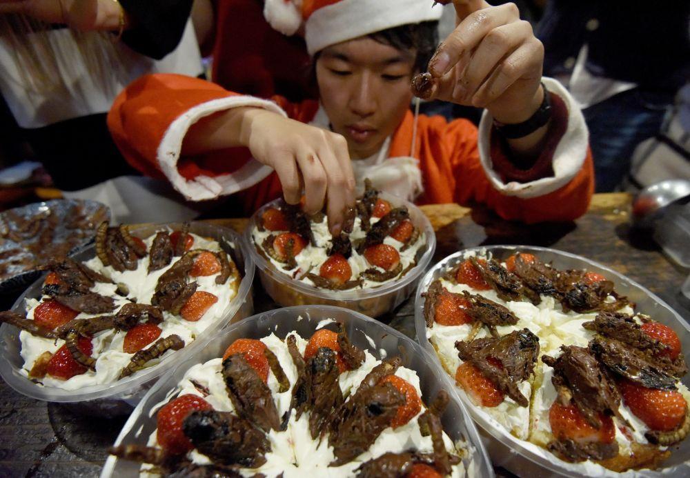 Mężczyzna rozkłada cykady i robaki w czekoladzie w Tokio