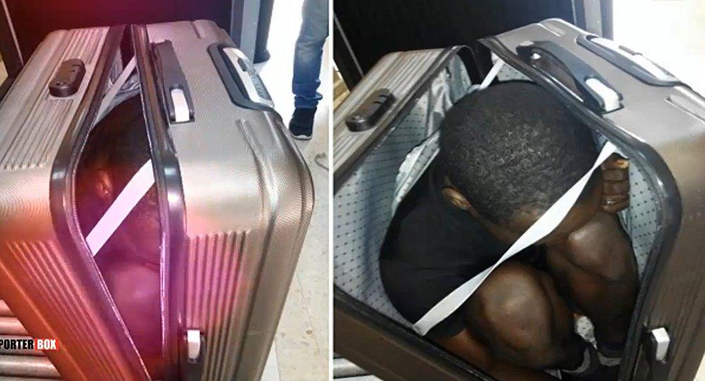 Próba przewiezienia w walizce uchodźcy