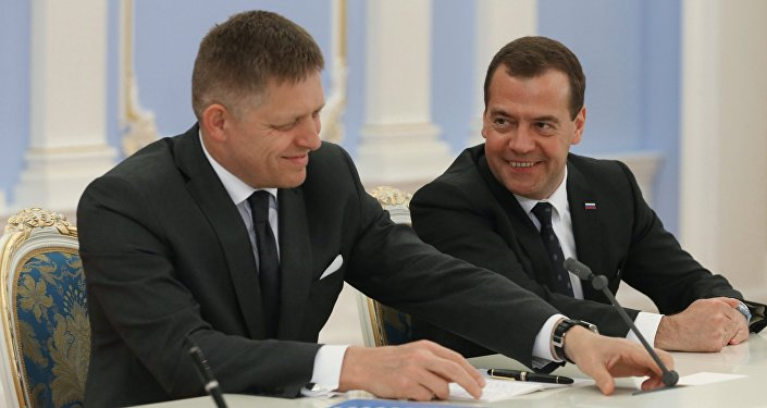 Spotkanie premiera Rosji Dmitrija Miedwiediewa i premiera Słowacji Roberta Fico