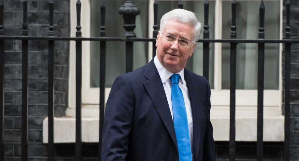 Minister obrony Wielkiej Brytanii Michael Fallon na Downing Street w Londynie