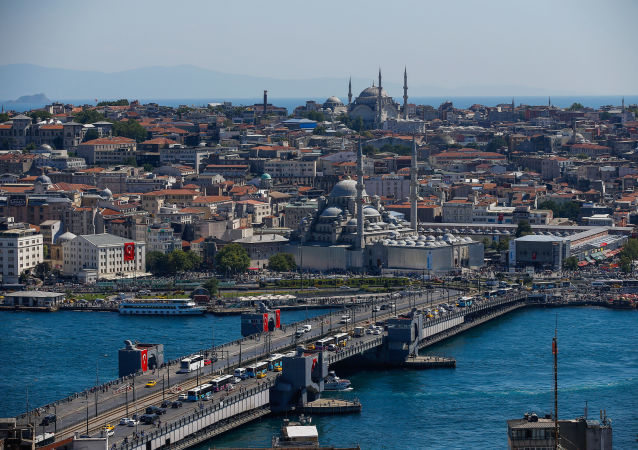Widok na most Galata. Stambuł