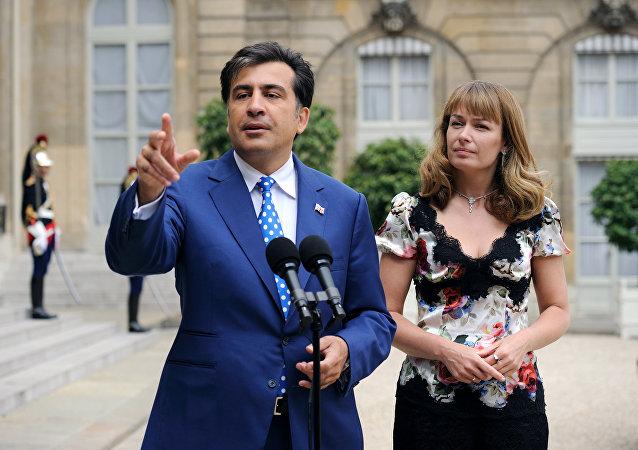 Michaił Saakaszwili z żoną
