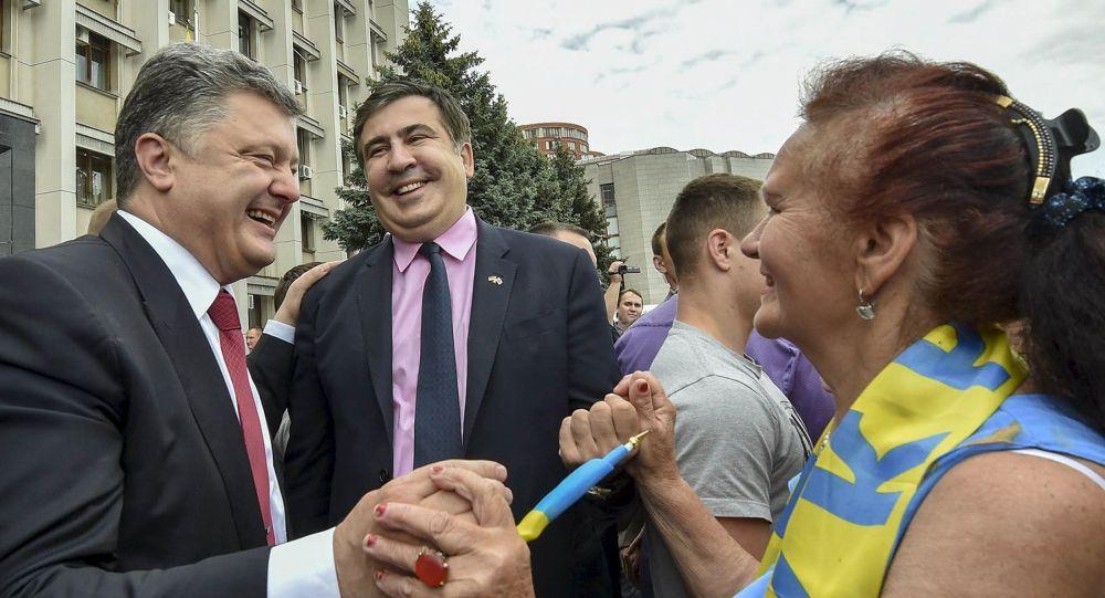 Prezydent Ukrainy Petro Poroszenko i gubernator obwodu odeskiego Michaił Saakaszwili