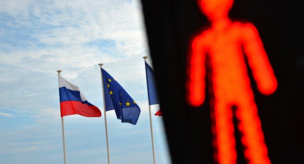 Flagi Rosji i UE