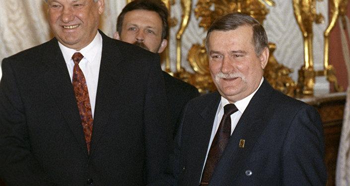 Wizyta Lecha Wałęsy w Moskwie, spotkanie z prezydentem Borysem Jelcynem, foto archiwalne
