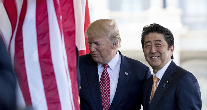 Prezydent USA Donald Trump i premier Japonii Shinzo Abe