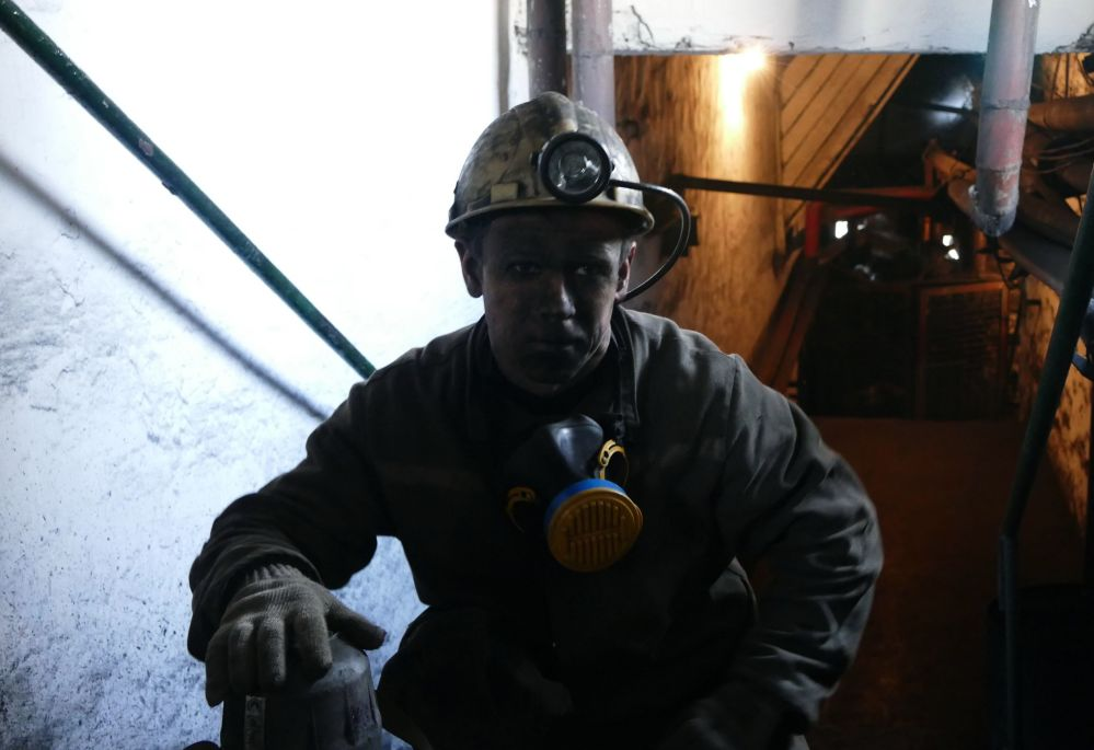 Górnik na stanowisku pracy