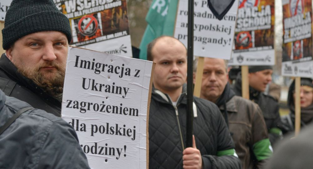 Protest organizacji narodowych przeciwko zwiększeniu liczby ukraińskich migrantów w Polsce.