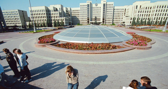 Siedziba rządu Republiki Białorusi od strony Placu Niepodległości w Mińsku
