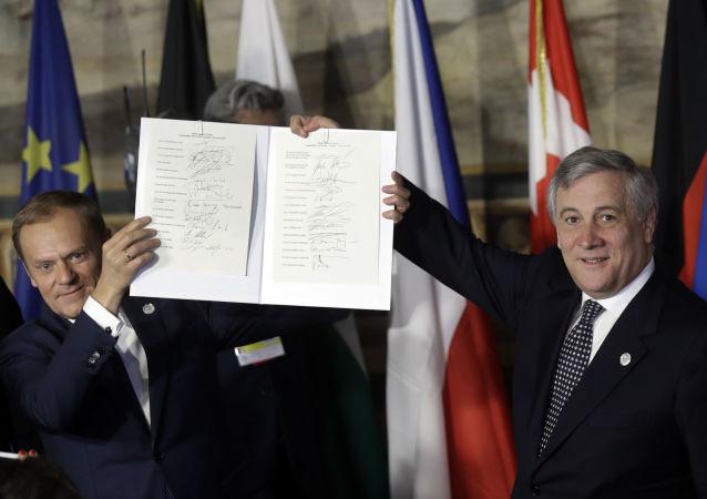 Deklaracja Rzymska, przyjęta 25 marca przez przywódców 27 państw i instytucji UE