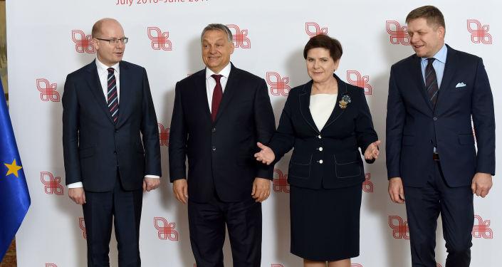 Członkowie Grupy Wyszehradzkiej na spotkaniu w Warszawie