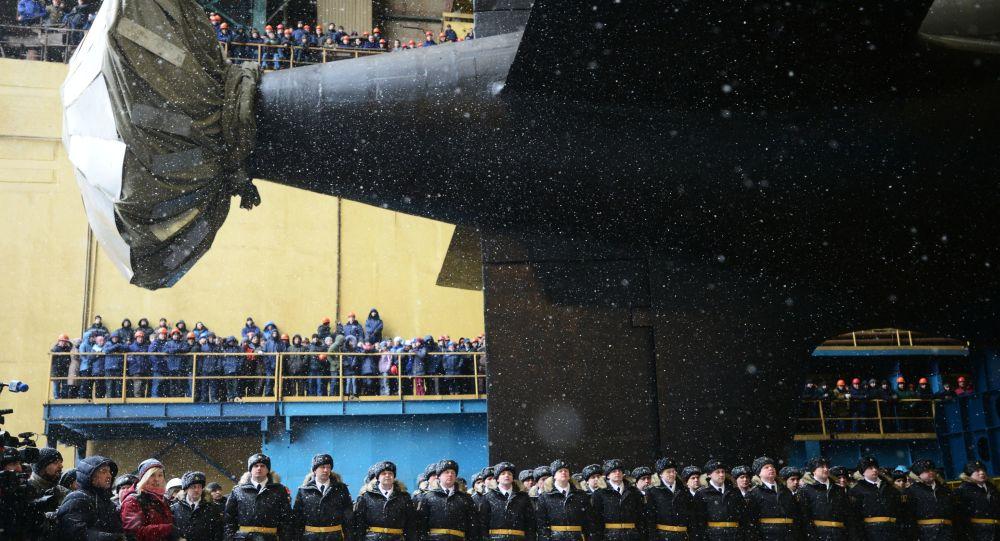 """Zwodowanie atomowego okrętu podwodnego """"Kazań"""" Marynarki Wojennej Rosji"""