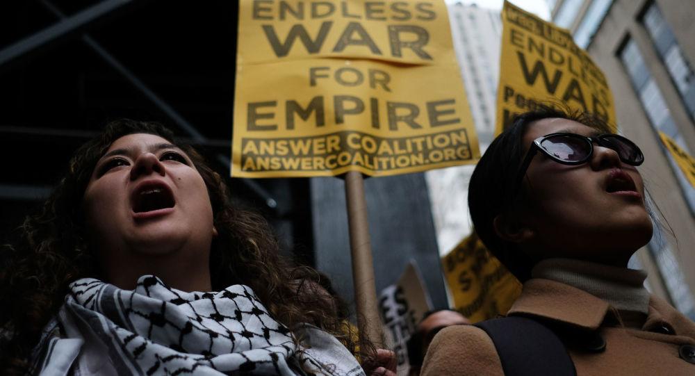 Akcje protestu przeciwko agresji USA na Syrię. Nowy Jork
