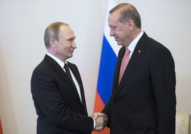 Spotkanie prezydentów Rosji i Turcji Władimira Putina i Recepa Tayyipa Erdogana w Sankt Petersburgu