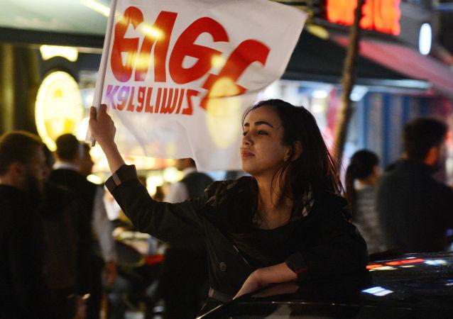 Zwolennicy prezydenta Turcji Recepa Tayyipa Erdogana na referendum konstytucyjnym w Turcji