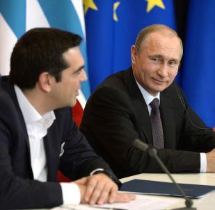 Premier Grecji Aleksis Tsipras i prezydent Rosji Władimir Putin