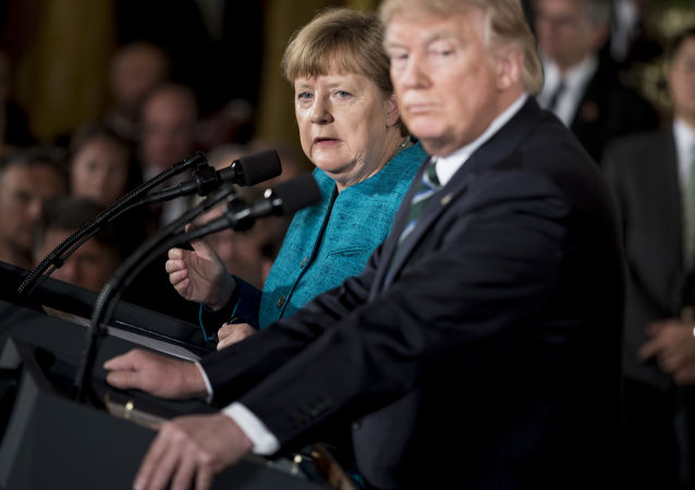 Kanclerz Niemiec Angela Merkel i prezydent USA Donald Trump w Białym Domu