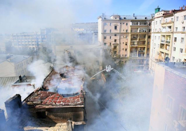 Pożar w centrum Moskwy