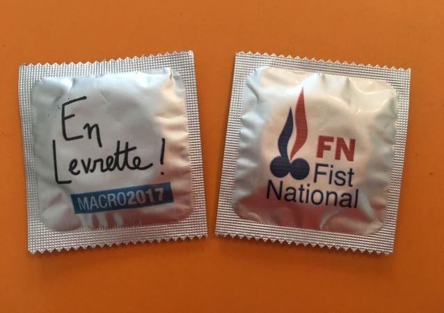 Opakowania kondonów zostały zaprojektowane w taki sposób, aby imitowały logo kampanii większości polityków chcących zasiąść w fotelu prezydenta