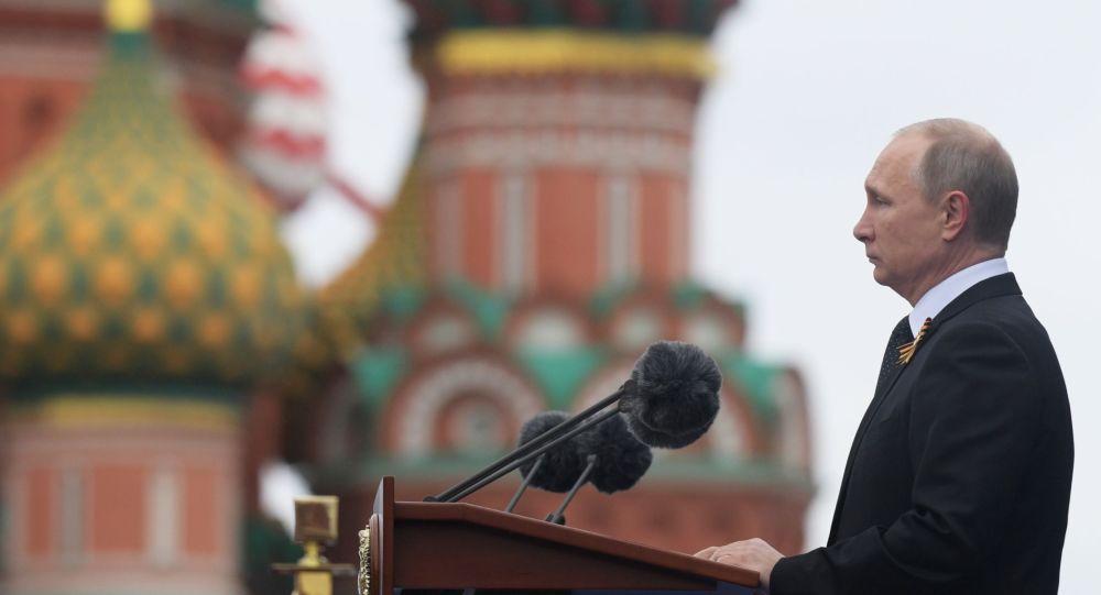 Prezydent Rosji Władimir Putin na Defiladzie Wojskowej z okazji 72. rocznicy Zwycięstwa w Wielkiej Wojnie Ojczyźnianej