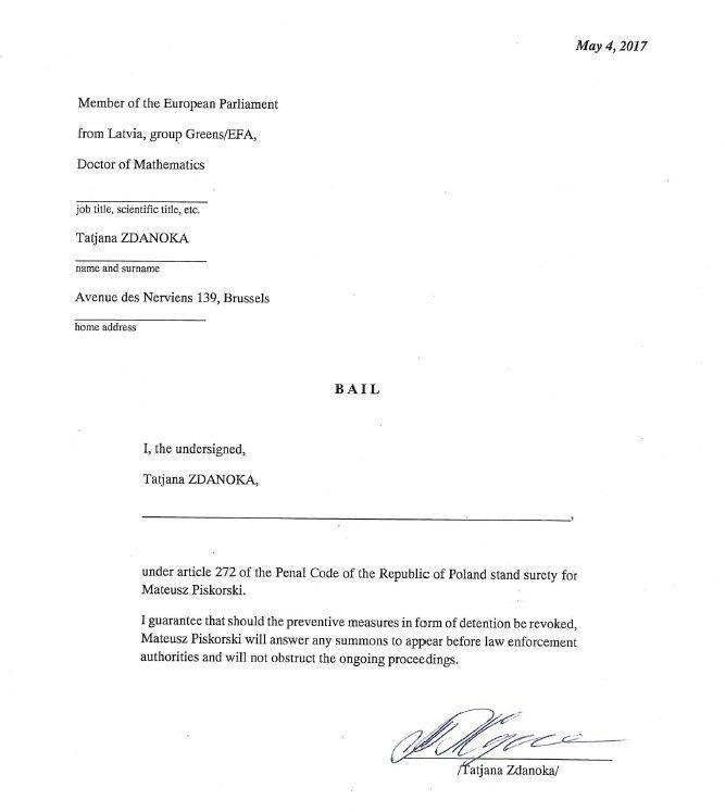 Europosłanka Tatiania Żdanok poręczyła za Piskorskiego