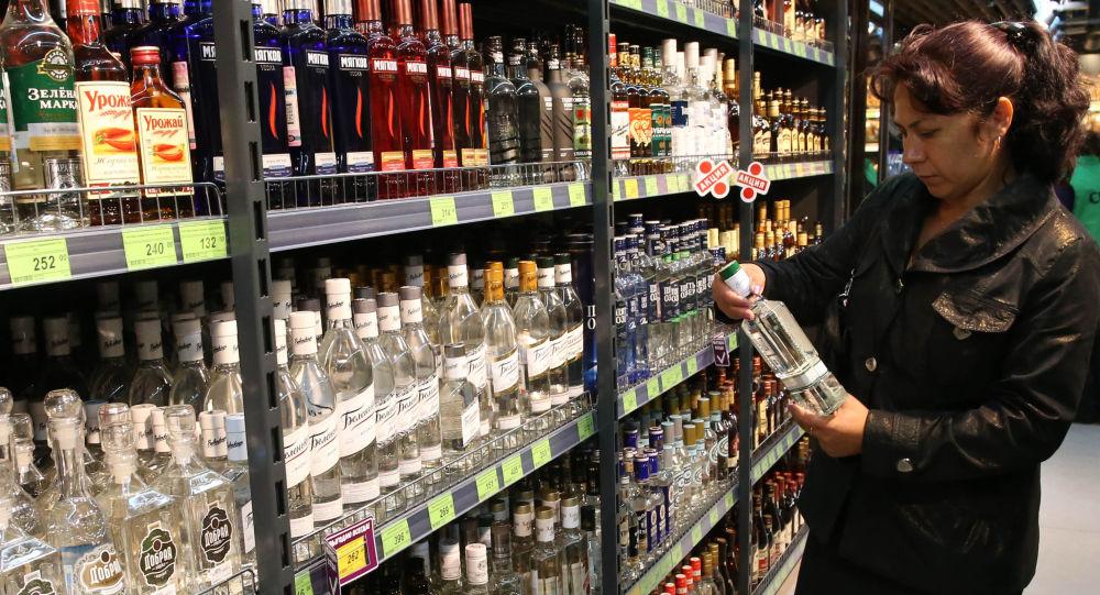 Dział alkoholi w sklepie w Kaliningradzie