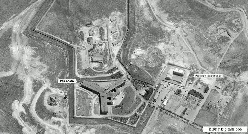 Widok na kompleks więzienny niedaleko Damaszku, Syria