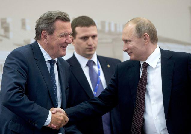 Były kanclerz Niemiec Gerhard Schröder i prezydent Rosji Władimir Putin na spotkaniu w ramach XX Petersburskiego Międzynarodowego Forum Gospodarczego