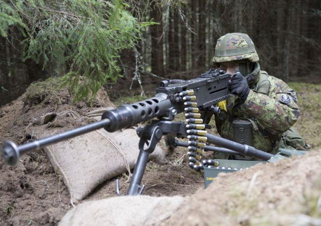 """Wojskowy na ćwiczeniach NATO """"Wiosenny Sztorm"""" w Estonii"""